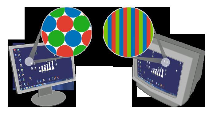 Структура пикселей в разных типах дисплеев