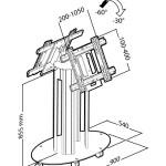 """Стойка Erard с основанием и крепления для двух дисплеев (""""спина к спине""""), максимальная высота до 90 см."""