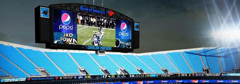 На спортивной арене Bank of America было установлено два новых HD-видеотабло площадью более 1000 метров квадратных каждое (61 х 17 м) на базе модульных светодиодных экранов компании Daktronics
