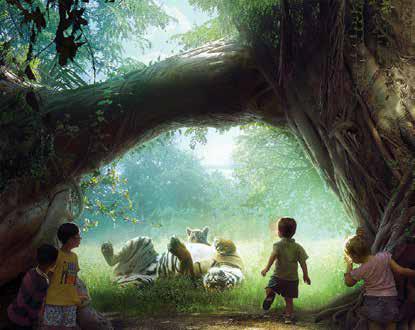 Фрагмент художественной интерпретации концептуальной модели будущего вольера с тиграми, ставший основой для проектирования аудиосистемы экспозиции «Дикая природа в зарослях баньяна»